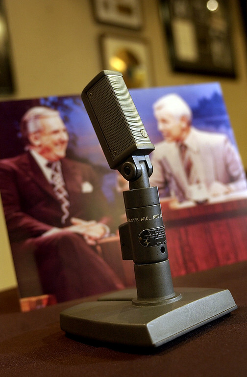 ". ""Johnny\'s Mic\"", the Shure microphone that sat on the desk of Johnny Carson during \""The Tonight Show\"" from 1962 to the early 1980\'s, sits in the auction room at Heritage Galleries & Auctioneers, Friday, April 22, 2005,  in Dallas. The item that is inscribed with \""Johnny\'s Mic\"" on the side will be sold Friday in a public auction. (AP Photo/Tony Gutierrez)"