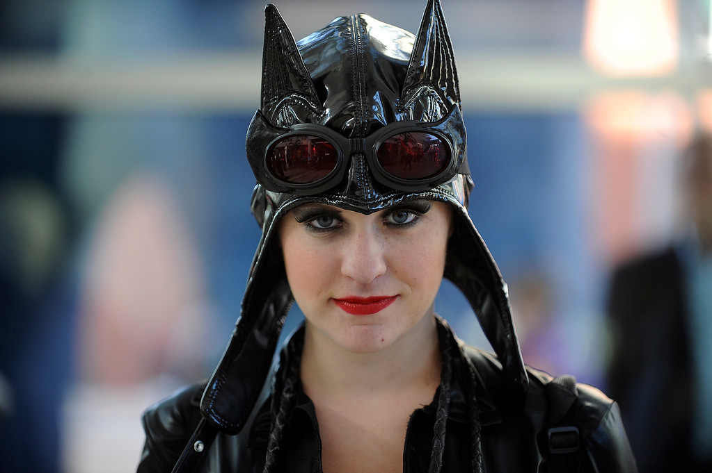 . DENVER, CO - MAY 31: Sara Garber dressed as Catwoman, poses for a photo during Denver Comic Con at the Colorado Convention Center on May 31, 2013 in Denver, Colorado. (Photo by Seth McConnell/The Denver Post)