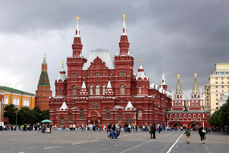 Red Square - The State History Museum, and (to the right) the Resurrection Gate.