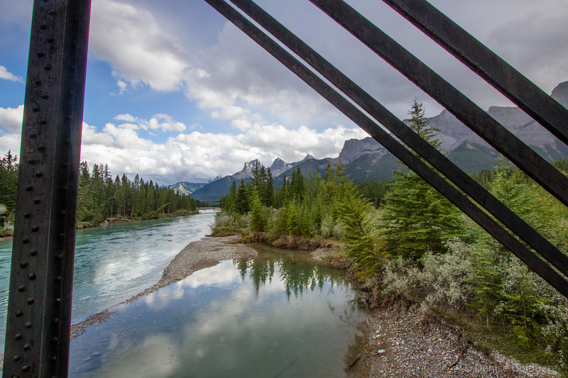 through the bridge, glacial waters of the Bow River