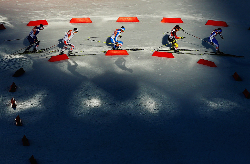 . Athletes compete in the Nordic Combined Individual Gundersen Normal Hill and 10km Cross Country on day 5 of the Sochi 2014 Winter Olympics at the RusSki Gorki Nordic Combined Skiing Stadium on February 12, 2014 in Sochi, Russia.  (Photo by Al Bello/Getty Images)