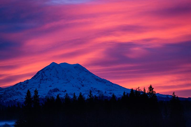 Rainier Sunrise - From Clear Lake