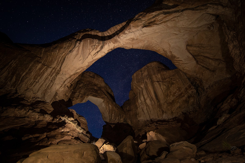 Double Arch with light painting in Arches NP