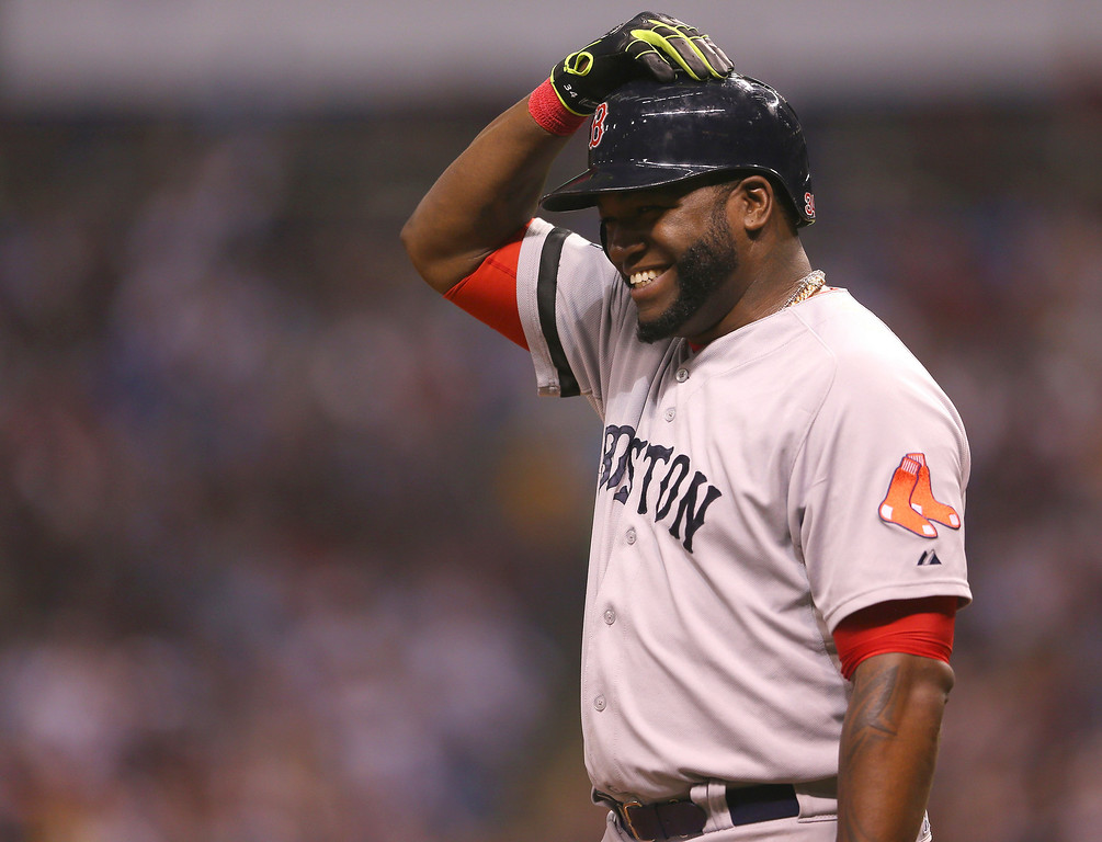 . David Ortiz #34 of the Boston Red Sox stands on third base in the fourth inning against the Tampa Bay Rays during Game Three of the American League Division Series at Tropicana Field on October 7, 2013 in St Petersburg, Florida.  (Photo by Mike Ehrmann/Getty Images)