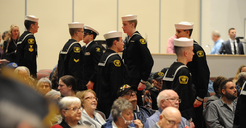 US Naval Sea Cadets, with the Lehigh Valley Division & Veterans Organizations, line up at the beginning of the ceremony. Phillipsburg area veterans Sunday, Nov. 11, 2018  were honored during the 21st annual William L. Nixon tribute. Hundreds attended the event at Phillipsburg High School in Lopatcong Township, in which the U.S. Department of Veterans Affairs has honored as a regional site for the observance of the commemoration.