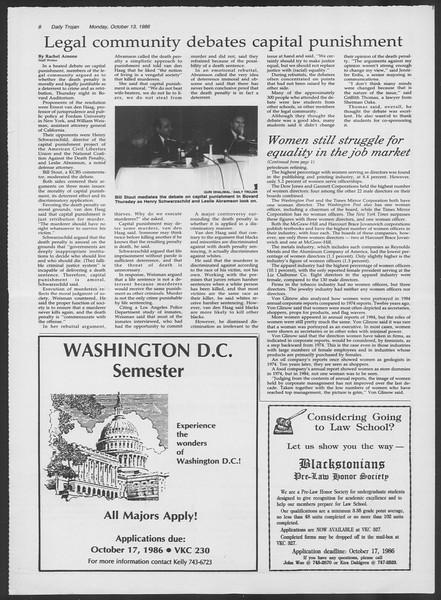 Daily Trojan, Vol. 102, No. 30, October 13, 1986