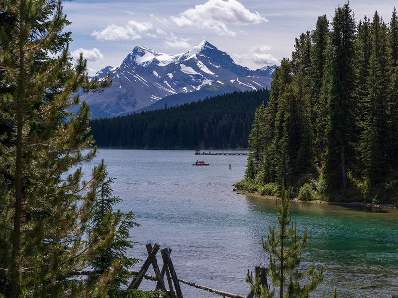 Scenic view of Maligne Lake with mountain in the background, Maligne Canyon, Jasper National Park, Jasper, Alberta, Canada