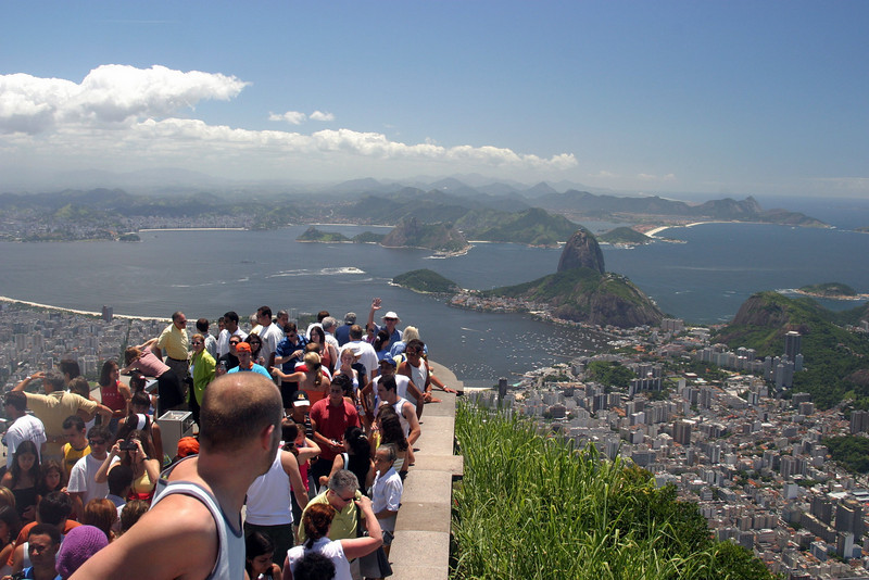 From the Corcovado, the crowds with Sugar Loaf in the background. 2004