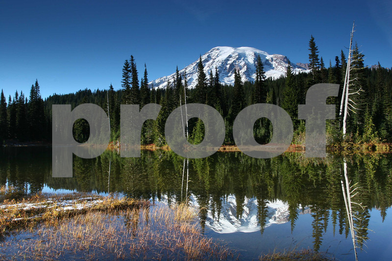 Mt. Rainier and Reflection Lake in the autumn.
