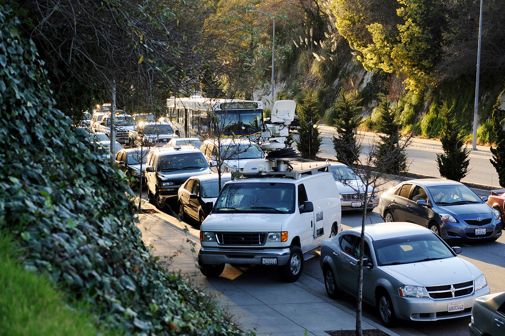 ". Traffic grinds to a halt near the intersection of Water Street and North Branciforte Avenue after <a href=""http://www.santacruzsentinel.com/localnews/ci_22674808/breaking-2-officers-1-suspect-shot-santa-cruz\"">a shootout that left two officers dead</a> broke out Tuesday afternoon (Matthew Hintz/Sentinel)."