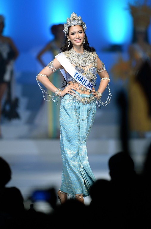 . Clad in national costume, Chonthicha Tiengtham of Thailand appears on the stage during the 53rd Miss International Beauty Pageant in Tokyo on December 17, 2013.      TORU YAMANAKA/AFP/Getty Images
