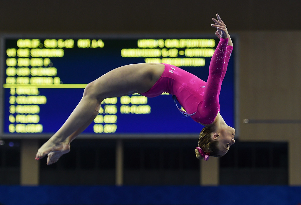 . Mykayla Skinner of the US performs on the beam during the women\'s qualification at the Gymnastics World Championships in Nanning, in China\'s southern Guangxi province on October 5, 2014. GREG BAKER/AFP/Getty Images