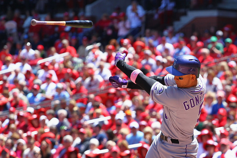 . Carlos Gonzalez #5 of the Colorado Rockies looses his bat after swinging for strike three against the St. Louis Cardinals at Busch Stadium on May 12, 2013 in St. Louis, Missouri.  (Photo by Dilip Vishwanat/Getty Images)