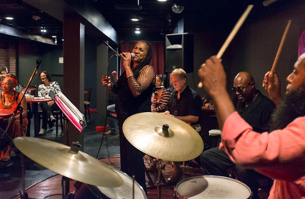08/24/18 Wesley Bunnell | Staff Singer Theresa Wright performs at Daym Drops Cellar, located inside of The Kitchen Eatery & Lounge at 136 Main St in New Britain, on Friday night. Brad Rickert is shown on keyboard, Morris Trent on bass and Alvin Carter on drums.