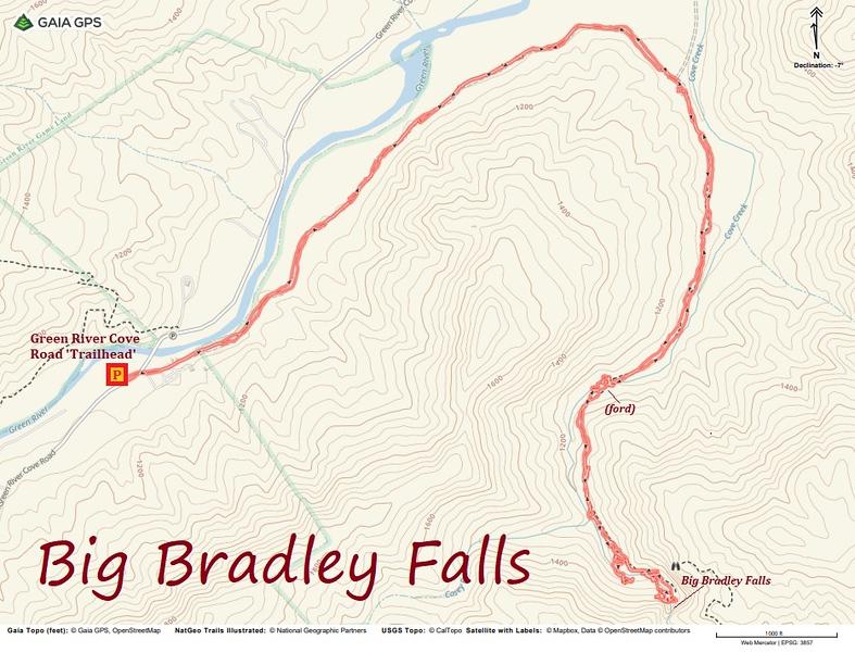 Big Bradley Falls Hike Route Map