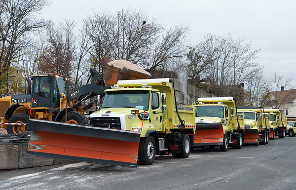 11/15/18 Wesley Bunnell | Staff New Britain Public Works trucks were being prepped and loaded with salt in anticipation of the upcoming winter storm schedule to hit New England Thursday evening into Friday. A payload dumps approximately 4 tons , 1 of 2 loads, of salt into a city plow truck.