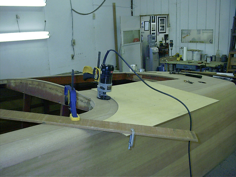 Router jig for curved deck seam at the front of the engine hatch.