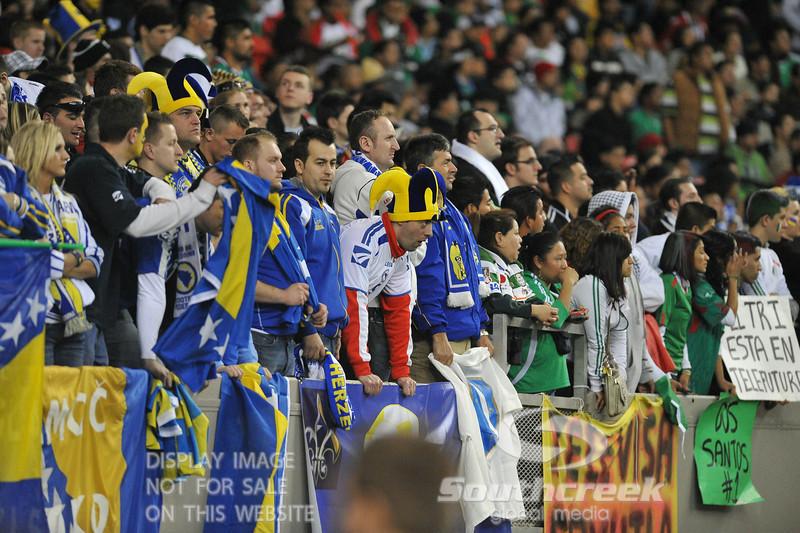 A Bosnia-Herzegovina fan looks dejected during the Soccer action between Bosnia-Herzegovina and Mexico.  Mexico defeated Bosnia-Herzegovina 2-0 in the game at the Georgia Dome in Atlanta, GA.