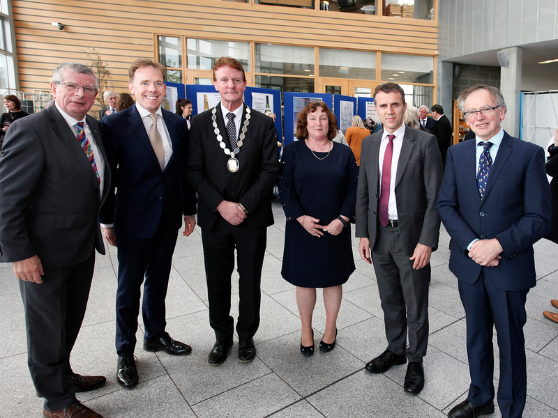 Photo from left: Ray Cullen, Head of Department of Languages, Tourism and Hospitality, Don O'Neill, Assistant Head of Department School of Humanities, Cllr John O'Leary Deputy Mayor of Waterford City and County, Dr Suzanne Denieffe, Head of School of Humanities, H.E. Stéphane Crouzat, Ambassador of France to Ireland, Professor Willie Donnelly, President WIT