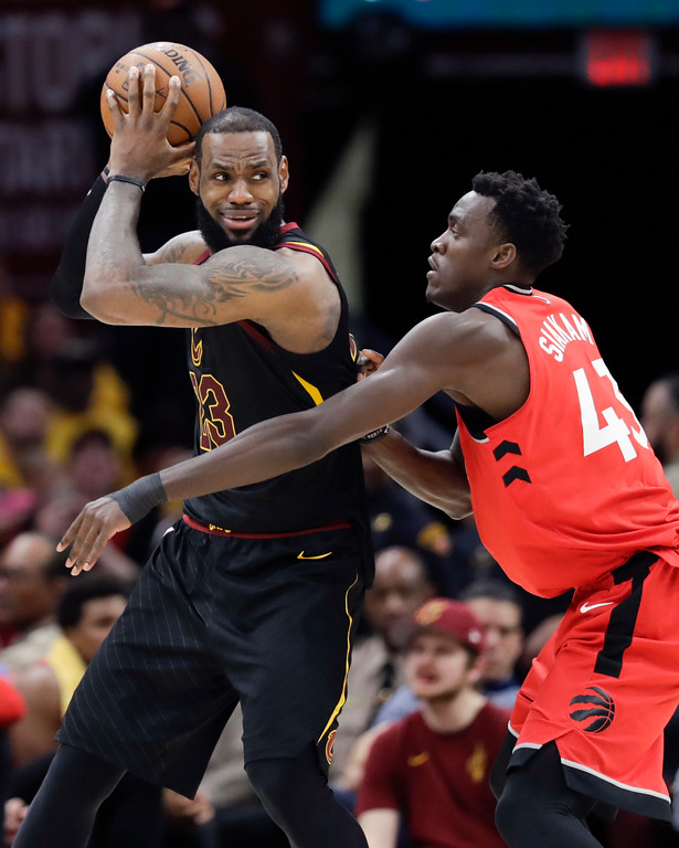 . Cleveland Cavaliers\' LeBron James looks to drive on Toronto Raptors\' Pascal Siakam (43), from Cameroon, in the second half of Game 4 of an NBA basketball second-round playoff series, Monday, May 7, 2018, in Cleveland. (AP Photo/Tony Dejak)