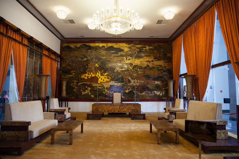 A beautiful painting inside of the Reunification Palace.