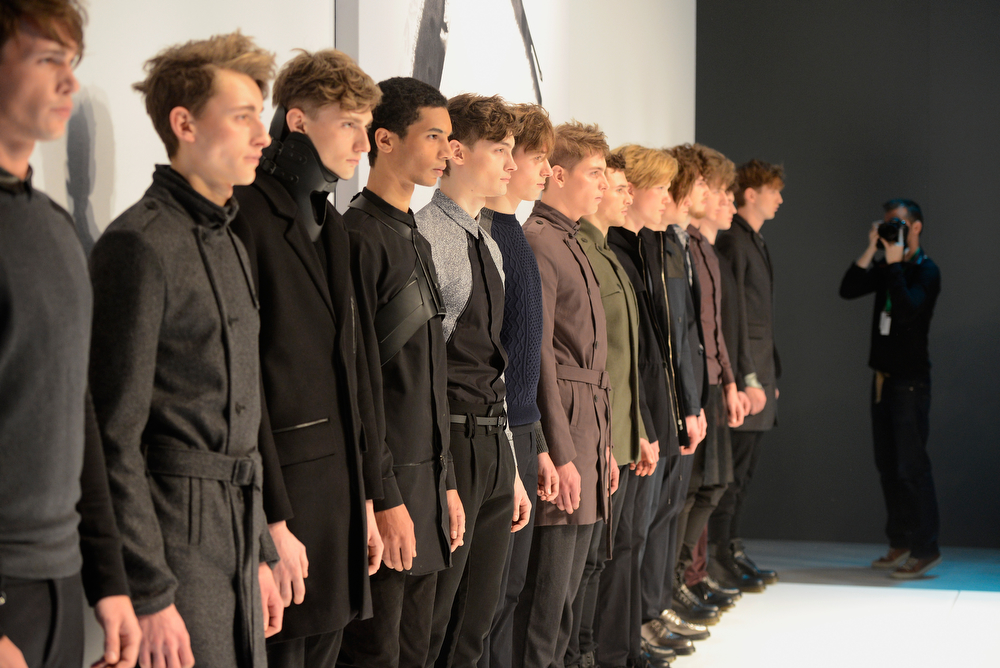 . Models pose at the Sopopular show during Mercedes-Benz Fashion Week Autumn/Winter 2014/15 at Brandenburg Gate on January 14, 2014 in Berlin, Germany.  (Photo by Clemens Bilan/Getty Images for IMG)