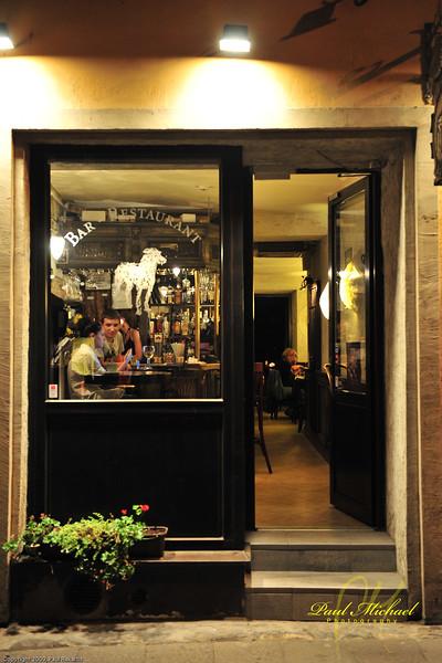 Bar - Restaurant at night.