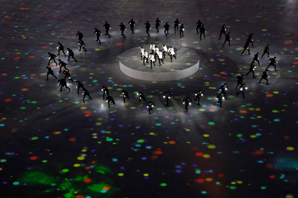 . EXO performs during the closing ceremony of the 2018 Winter Olympics in Pyeongchang, South Korea, Sunday, Feb. 25, 2018. (AP Photo/Charlie Riedel)