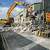 The scene at Newtownhamilton Police station were work began to dismantle the watchtower. 06W32N1