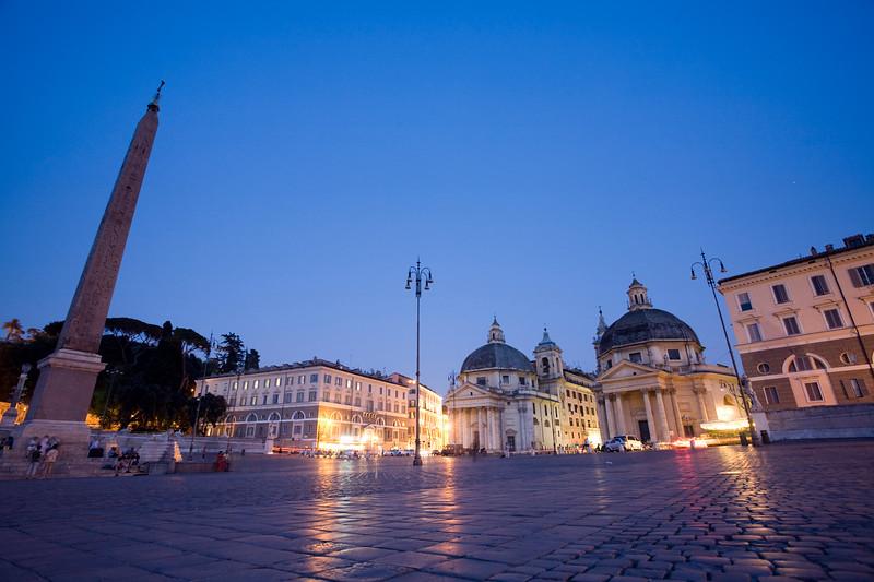 Piazza del Populo at dusk, Rome