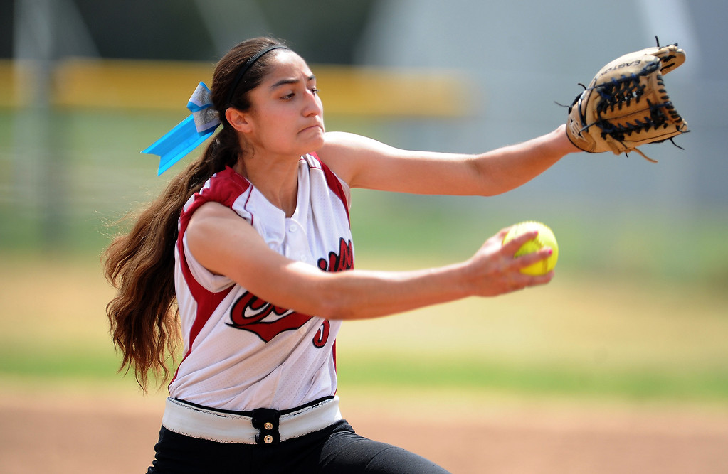 . Covina starting pitcher Princess Nava throws to the plate in the first inning of the Northview Tournament championship softball game against Monrovia at Northview High School on Thursday, April 4, 2013 in Covina, Calif.  Monrovia won 6-0. 