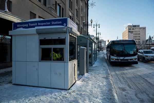 DAVID LIPNOWSKI / WINNIPEG FREE PRESS  Winnipeg Transit Inspector Stations are now operating at two downtown safety hot spots, including this one at Portage Avenue and Vaughan Street Thursday December 27, 2018.