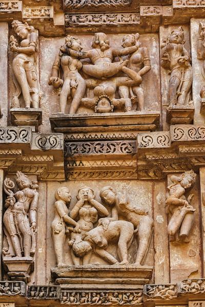 Famous erotic stone carving sculptures, Vishvanath Temple, Khajuraho, India. Unesco World Heritage Site