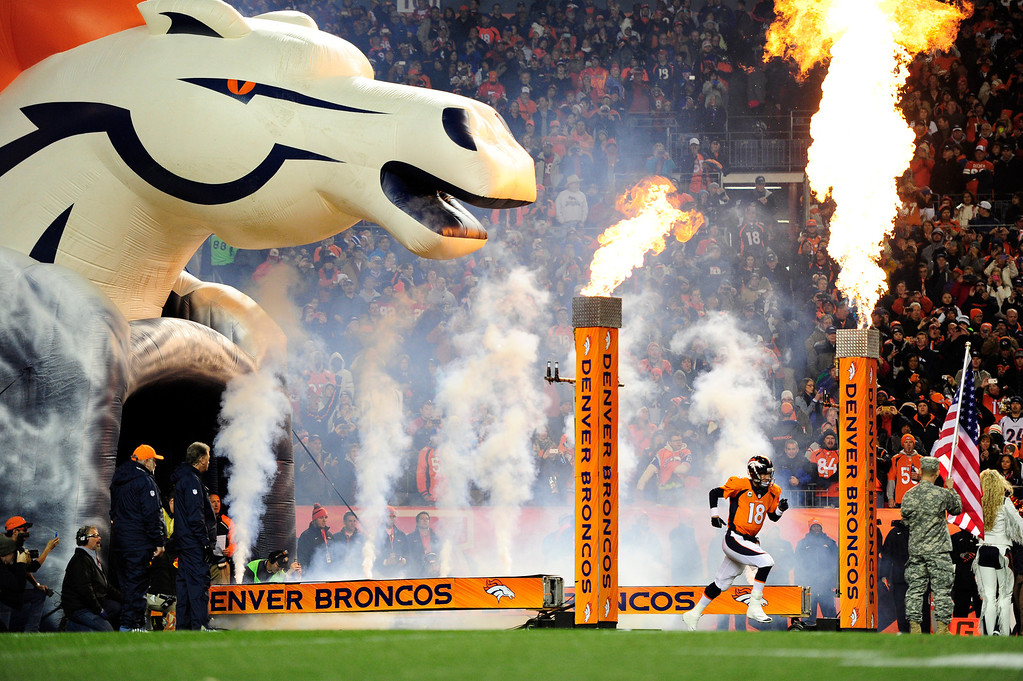 . Denver Broncos quarterback Peyton Manning (18) takes the field before the game against the Kansas City Chiefs on Nov. 17, 2013.  (Photo by AAron Ontiveroz/The Denver Post)