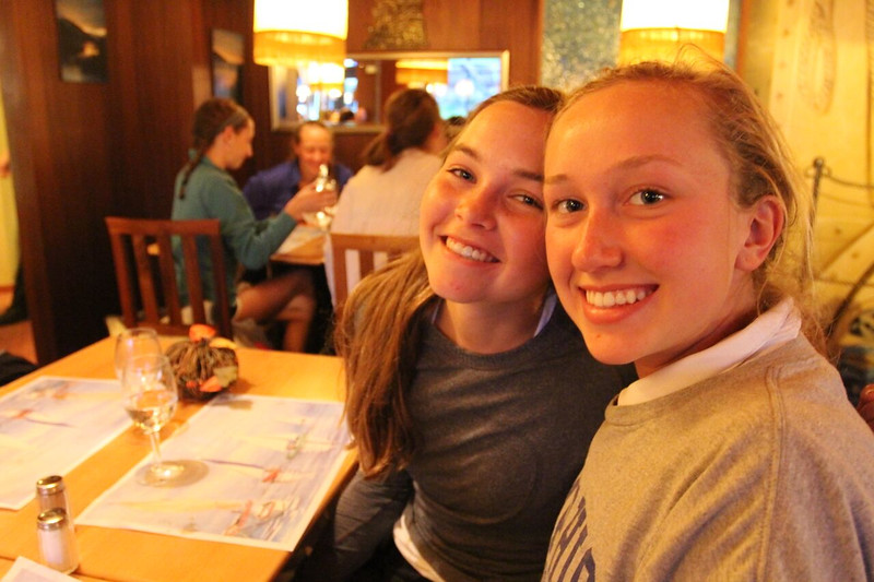 Katie and Molly getting ready for dinner at Hotel Oeschinensee