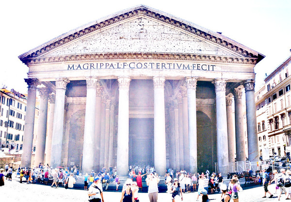 This is the Roman Pantheon.  My Phone couldnt get it all so I stitched three images together into a panorama: Now its a Panthorama