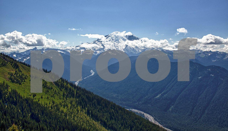 The view to Mt. Rainier and the White River from the Summit House at Crystal Mt. ski area.