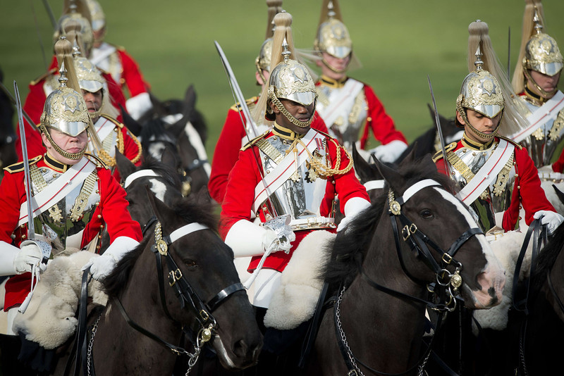. Members of the Household Cavalry Mounted Regiment take part in the annual inspection in Hyde Park in London on March 20, 2014. The Major General\'s Inspection is the annual validation of the ability of the regiment to conduct State Ceremonial duties for the year.  (LEON NEAL/AFP/Getty Images)