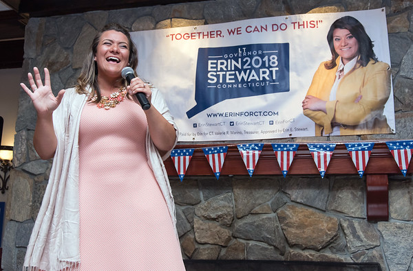 08/13/18 Wesley Bunnell   Staff New Britain Mayor Erin Stewart speaks to her supporters during a primary day eve rally for her Lt. Governor bid on Monday evening at the Back Nine Tavern at Stanley Golf Course.