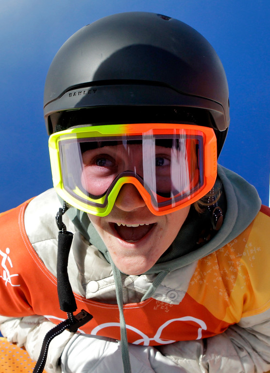 . Red Gerard, of the United States, smiles after winning gold in the men\'s slopestyle final at Phoenix Snow Park at the 2018 Winter Olympics in Pyeongchang, South Korea, Sunday, Feb. 11, 2018. (AP Photo/Lee Jin-man)