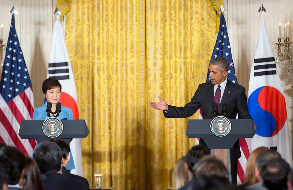 . FILE - In this Oct. 16, 2015 file photo, U.S. President Barack Obama, right, gestures toward South Korean President Park Geun-hye during their joint news conference in the East Room of the White House in Washington. Impeached President Park Geun-hye�s surname is �Park,� right? Nope. In Korean it�s closer to �Bahk.� Park�s allegedly corrupt confidante, Choi Soon-sil, pronounces her name more like �Chwey� than the way it�s rendered in English. There is a gulf, often a wide one, between the way Koreans write their names in English and the way they actually sound. (AP Photo/Pablo Martinez Monsivais, File)