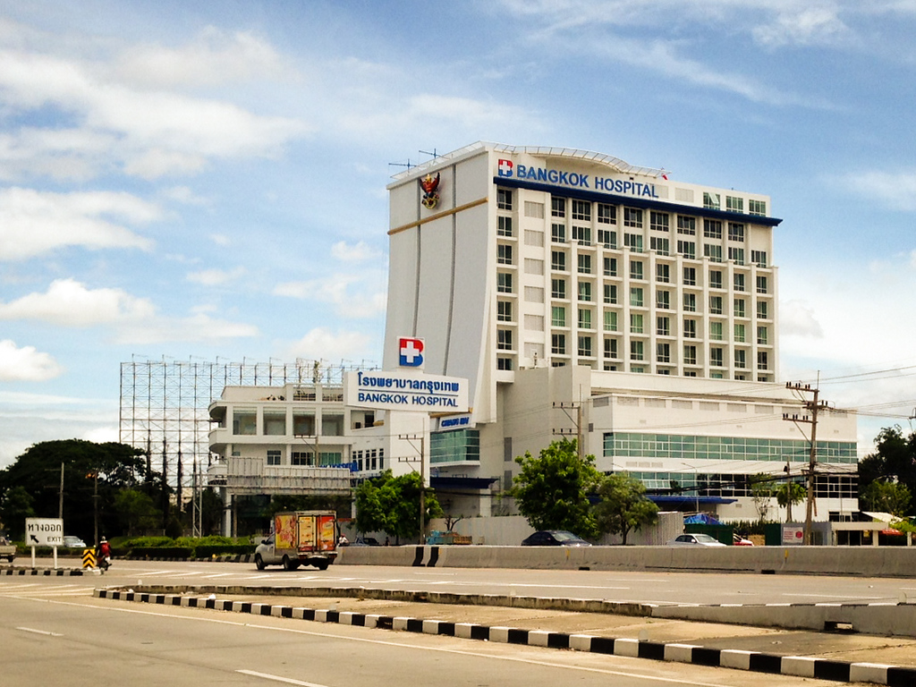 Exterior of Bangkok Hospital in Chiang Mai, Thailand