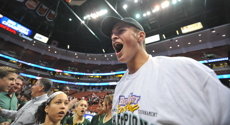 Cal Poly men's basketball takes on CSU Northridge during the Big West Tournament championship in Anaheim, California. The Mustangs won 61-59. Mar. 15, 2014. Photo by Ian Billings