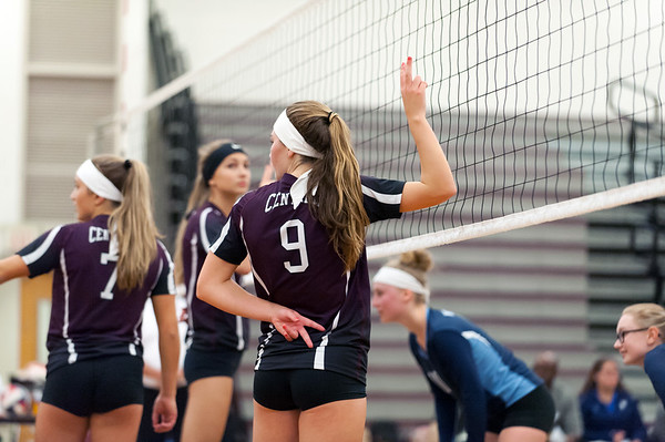 09/24/18 Wesley Bunnell | Staff Bristol Central volleyball defeated Middletown on Monday evening at Bristol Central High School. Ashleigh Clark (9) signals before a serve.