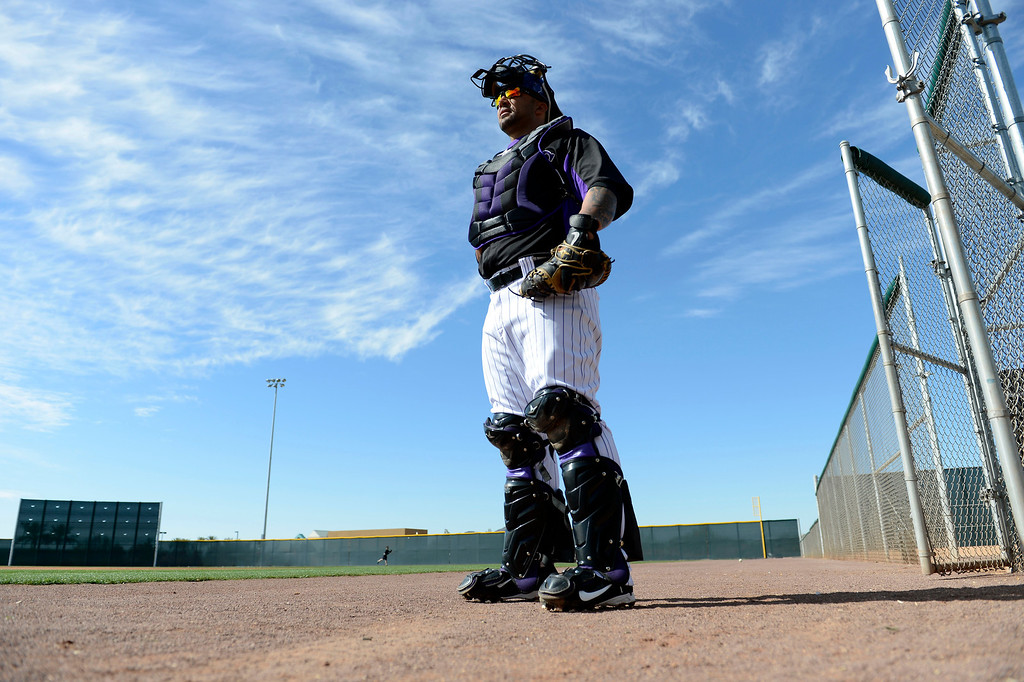 . SCOTTSDALE, AZ. - FEBRUARY 19: Colorado Rockies Gustavo Molina (64) watches batting practice during Spring Training February 19, 2013 in Scottsdale. (Photo By John Leyba/The Denver Post)