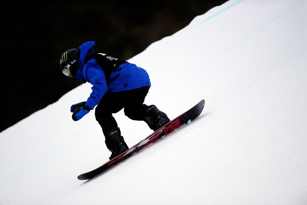 . ASPEN, CO. - JANUARY 24: Aleksander Oestreng hits a jump during the men\'s Snowboard Slopestyle elimination. Men\'s Snowboard Slopestyle elimination X Games Aspen Buttermilk Mountain Aspen January 24, 2013. (Photo By AAron Ontiveroz / The Denver Post)