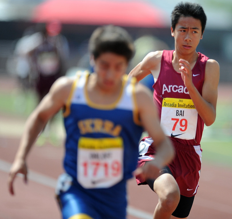 . Arcadia\'s Vincent Bai competes in the 200 meters race in the during the Arcadia Invitational at Arcadia High School on Saturday, April 6, 2013 in Arcadia, Calif.  (Keith Birmingham Pasadena Star-News)