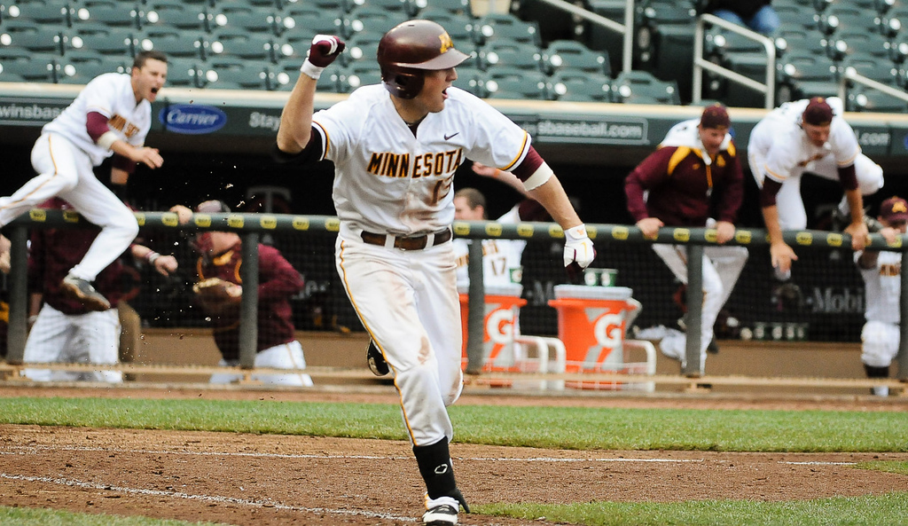 . Minnesota\'s Andy Henkemeyer reacts after hitting a game-winning single to right field with the bases loaded in the bottom of the ninth inning and lifting the Gophers over Illinois 3-2 in the opening game of the Big Ten Championship baseball tournament at Target Field in Minneapolis on Wednesday, May 22, 2013. (Pioneer Press: Ben Garvin)