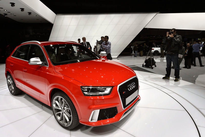 . The new Audi RS Q3 is shown during the press day at the 83rd Geneva International Motor Show in Geneva, Switzerland, Tuesday, March 5, 2013. The Motor Show will open its gates to the public from 7th to 17th March presenting more than 260 exhibitors and more than 130 world and European premieres. (AP Photo/Keystone, Martial Trezzini)