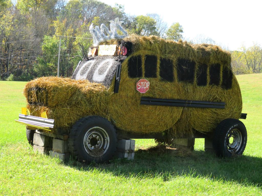 hay bale school bus